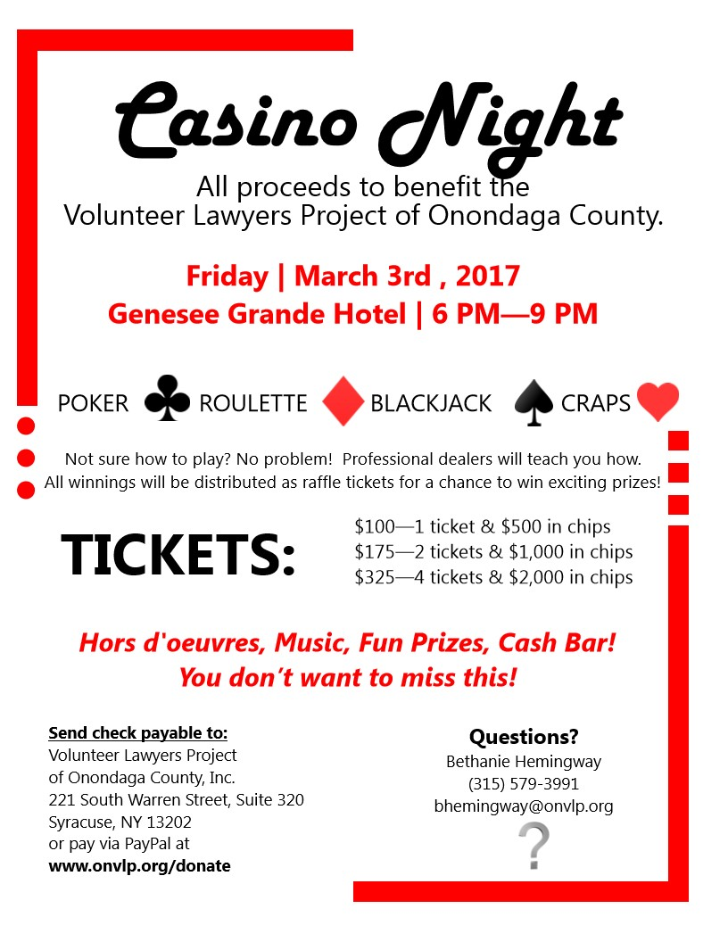 VLP's Casino Night - enter to win a ticket package! - Central New